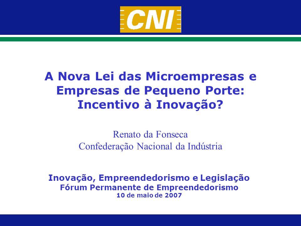 Microempresas e Empresas de Pequeno Porte Inovação, Empreendedorismo e Legislação Campinas, 10/5/2007 Por que as micro e pequenas empresas devem ser apoiadas?