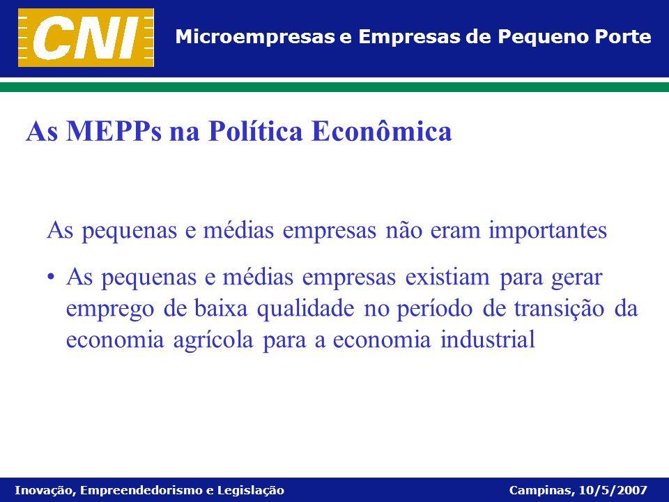 Microempresas e Empresas de Pequeno Porte Inovação, Empreendedorismo e Legislação Campinas, 10/5/2007 As pequenas e médias empresas não eram important