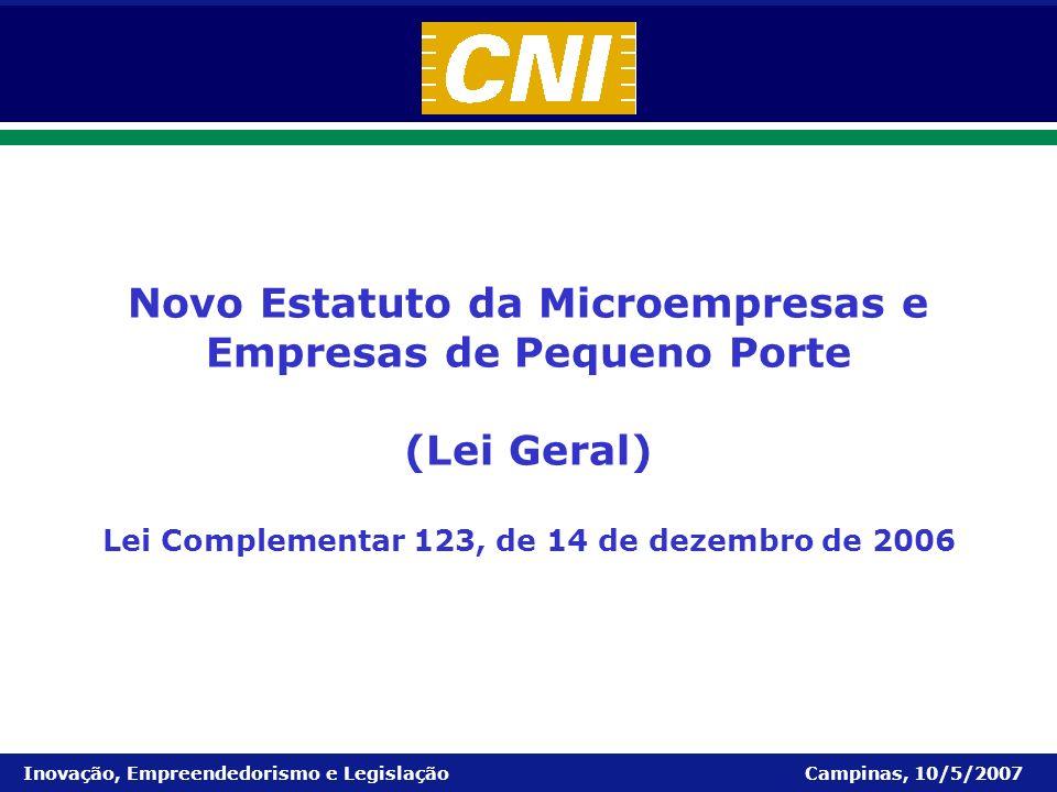 Microempresas e Empresas de Pequeno Porte Inovação, Empreendedorismo e Legislação Campinas, 10/5/2007 Novo Estatuto da Microempresas e Empresas de Peq