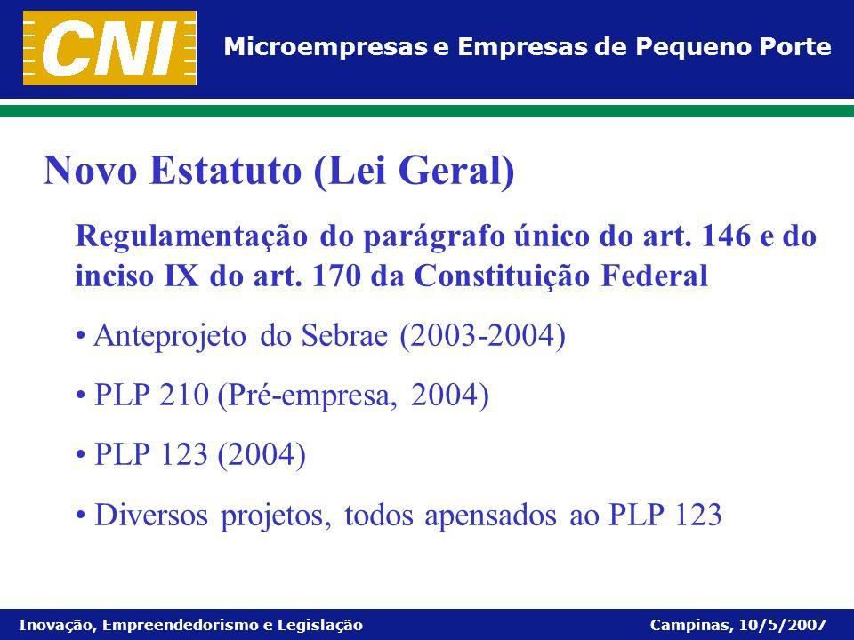 Microempresas e Empresas de Pequeno Porte Inovação, Empreendedorismo e Legislação Campinas, 10/5/2007 Novo Estatuto (Lei Geral) Regulamentação do pará