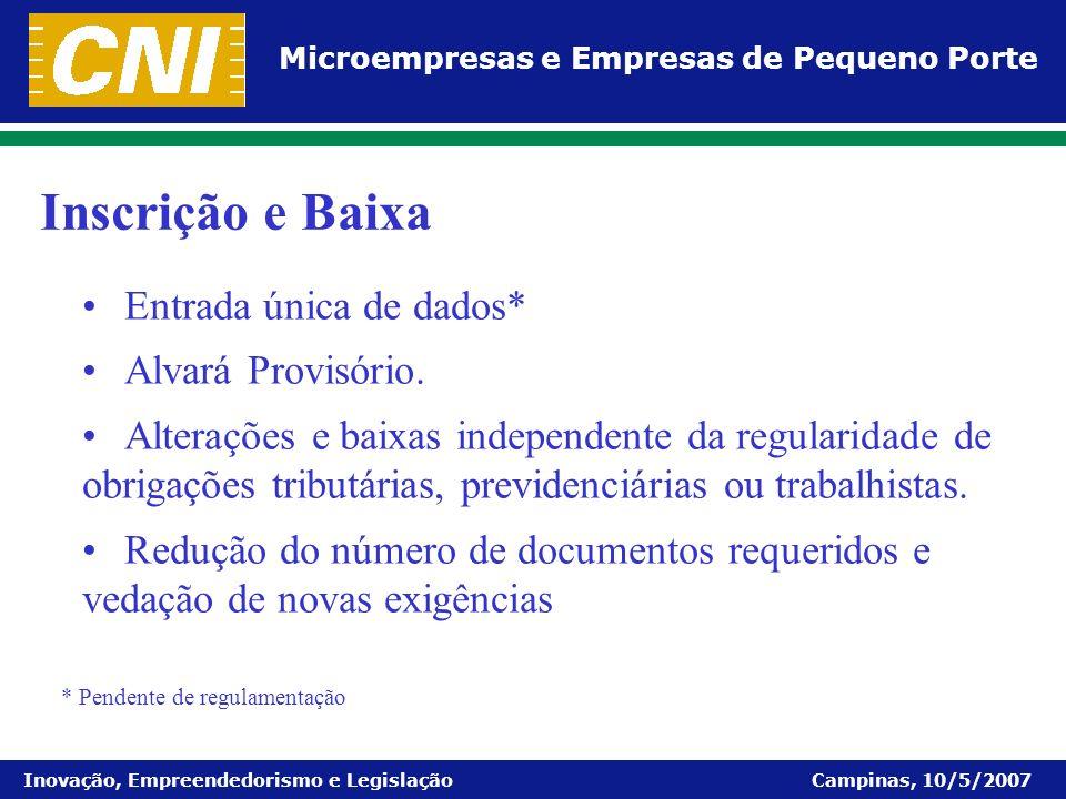 Microempresas e Empresas de Pequeno Porte Inovação, Empreendedorismo e Legislação Campinas, 10/5/2007 Entrada única de dados* Alvará Provisório. Alter