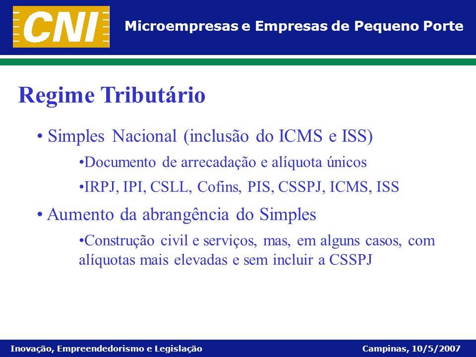 Microempresas e Empresas de Pequeno Porte Inovação, Empreendedorismo e Legislação Campinas, 10/5/2007 Simples Nacional (inclusão do ICMS e ISS) Docume