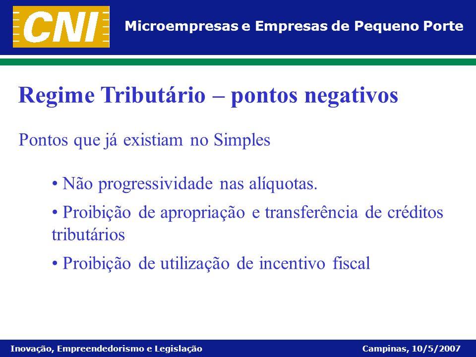 Microempresas e Empresas de Pequeno Porte Inovação, Empreendedorismo e Legislação Campinas, 10/5/2007 Não progressividade nas alíquotas. Proibição de