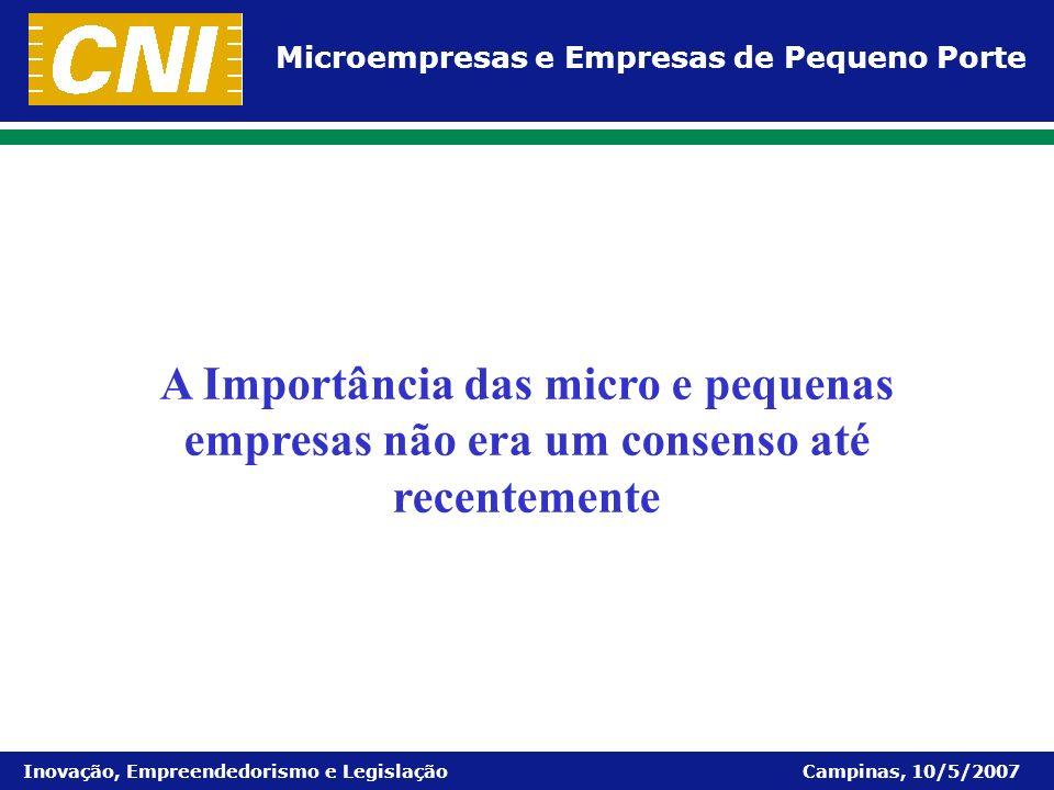 Microempresas e Empresas de Pequeno Porte Inovação, Empreendedorismo e Legislação Campinas, 10/5/2007 Por que as micro e pequenas empresas precisam ser apoiadas?