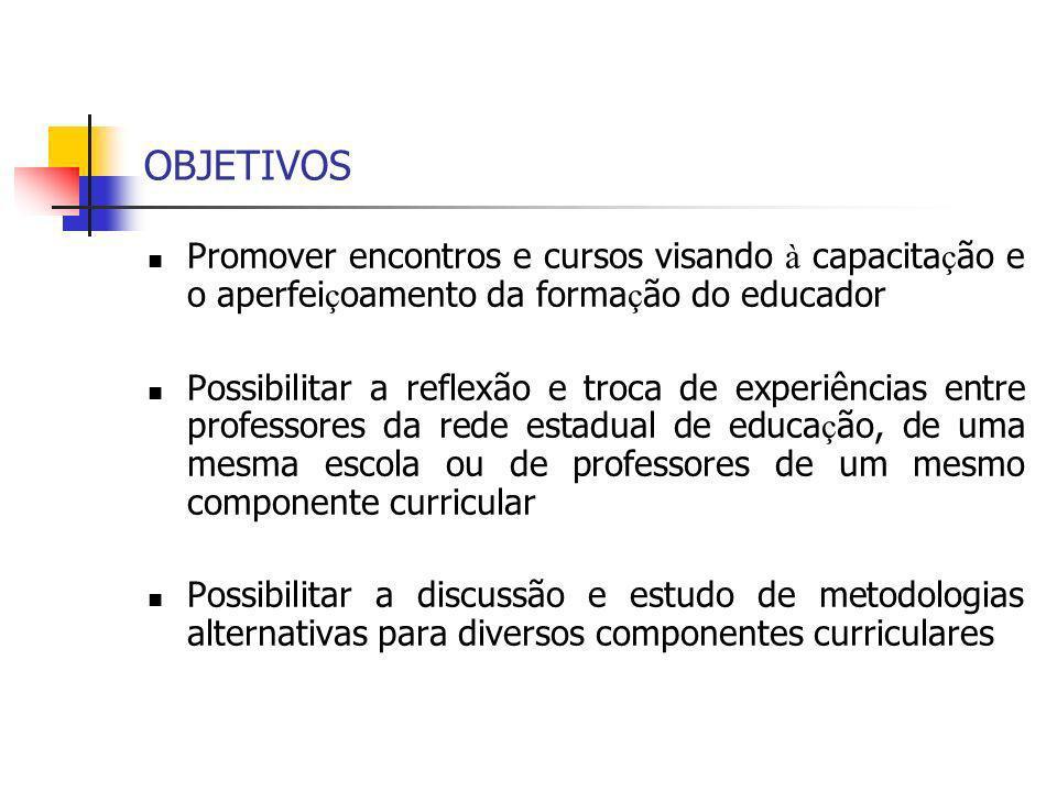 OBJETIVOS Promover encontros e cursos visando à capacita ç ão e o aperfei ç oamento da forma ç ão do educador Possibilitar a reflexão e troca de exper