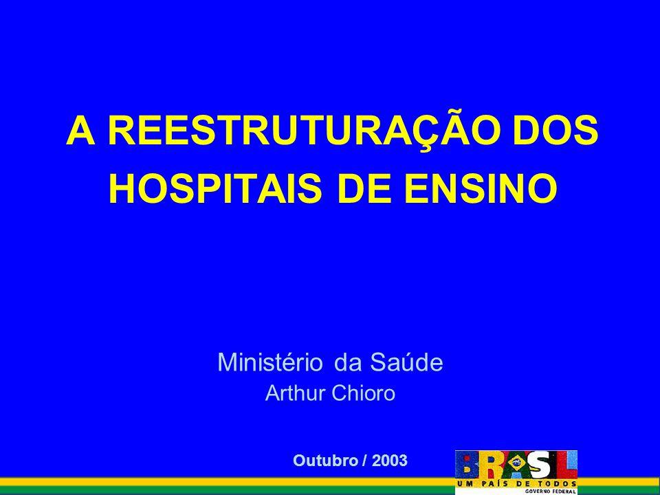 A REESTRUTURAÇÃO DOS HOSPITAIS DE ENSINO Ministério da Saúde Arthur Chioro Outubro / 2003