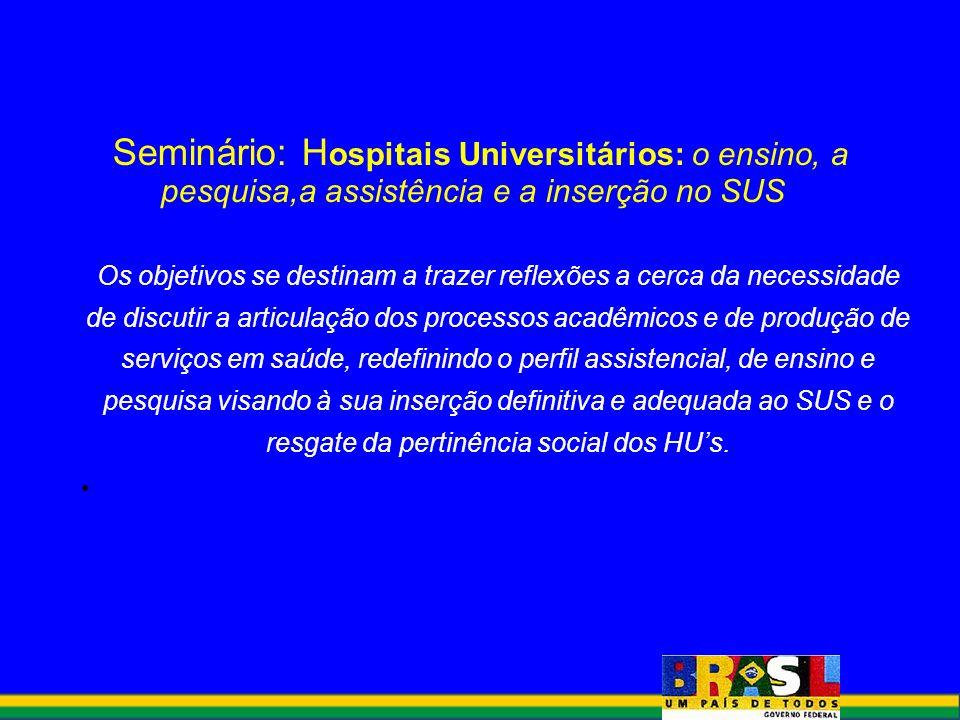 Seminário: H ospitais Universitários: o ensino, a pesquisa,a assistência e a inserção no SUS Os objetivos se destinam a trazer reflexões a cerca da ne
