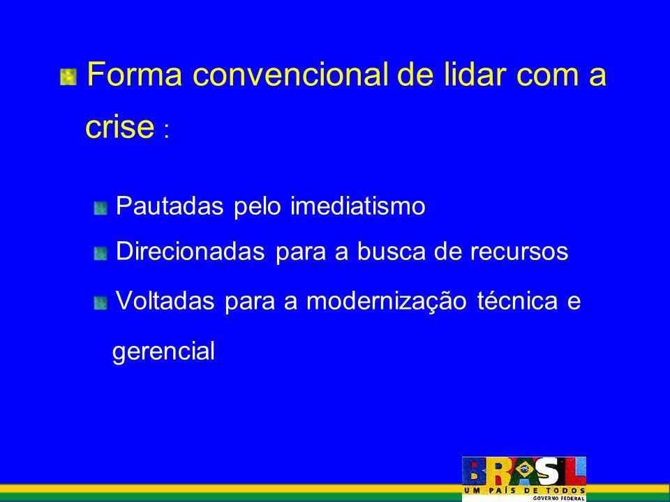 Forma convencional de lidar com a crise : Pautadas pelo imediatismo Direcionadas para a busca de recursos Voltadas para a modernização técnica e geren