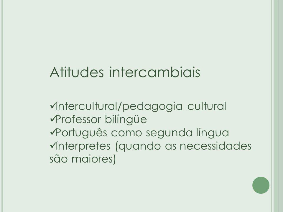 Atitudes intercambiais Intercultural/pedagogia cultural Professor bilíngüe Português como segunda língua Interpretes (quando as necessidades são maiores)