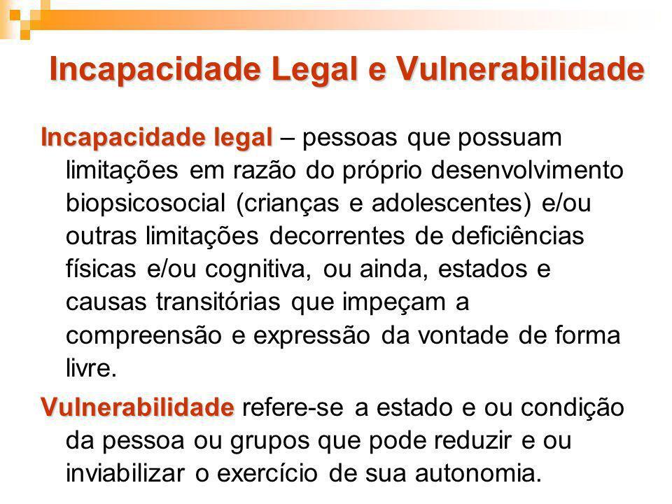 Incapacidade Legal e Vulnerabilidade Incapacidade legal Incapacidade legal – pessoas que possuam limitações em razão do próprio desenvolvimento biopsi