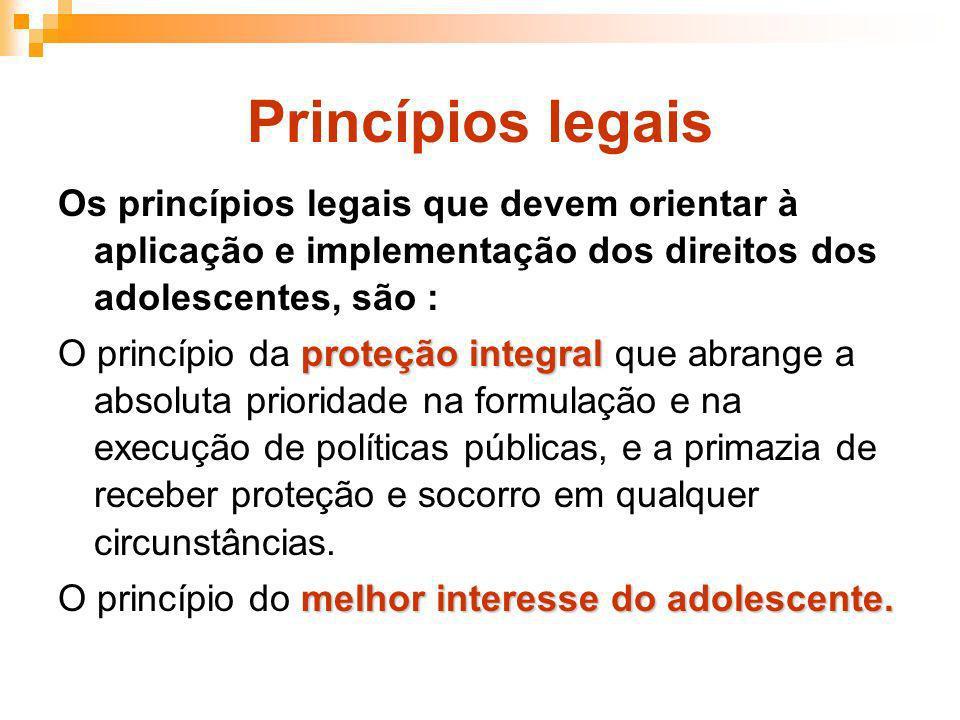 Princípios legais Os princípios legais que devem orientar à aplicação e implementação dos direitos dos adolescentes, são : proteção integral O princíp