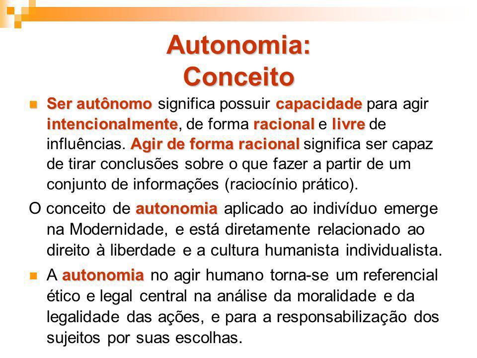 Autonomia: Conceito Ser autônomo capacidade intencionalmenteracional livre Agir de forma racional Ser autônomo significa possuir capacidade para agir