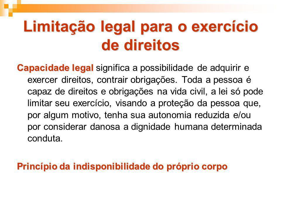 Limitação legal para o exercício de direitos Capacidade legal Capacidade legal significa a possibilidade de adquirir e exercer direitos, contrair obri