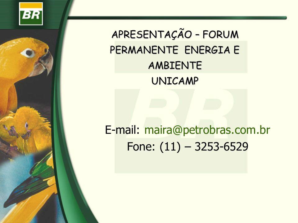 APRESENTAÇÃO – FORUM PERMANENTE ENERGIA E AMBIENTE UNICAMP E-mail: maira@petrobras.com.br Fone: (11) – 3253-6529