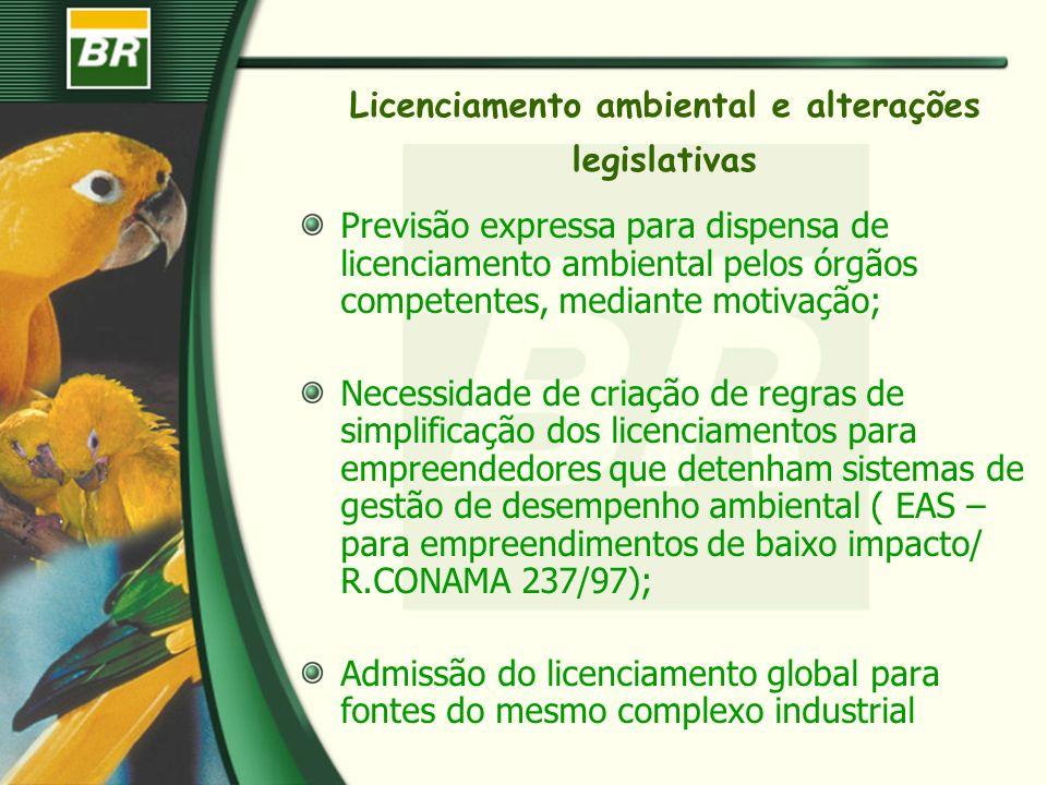 Licenciamento ambiental e alterações legislativas Previsão expressa para dispensa de licenciamento ambiental pelos órgãos competentes, mediante motiva