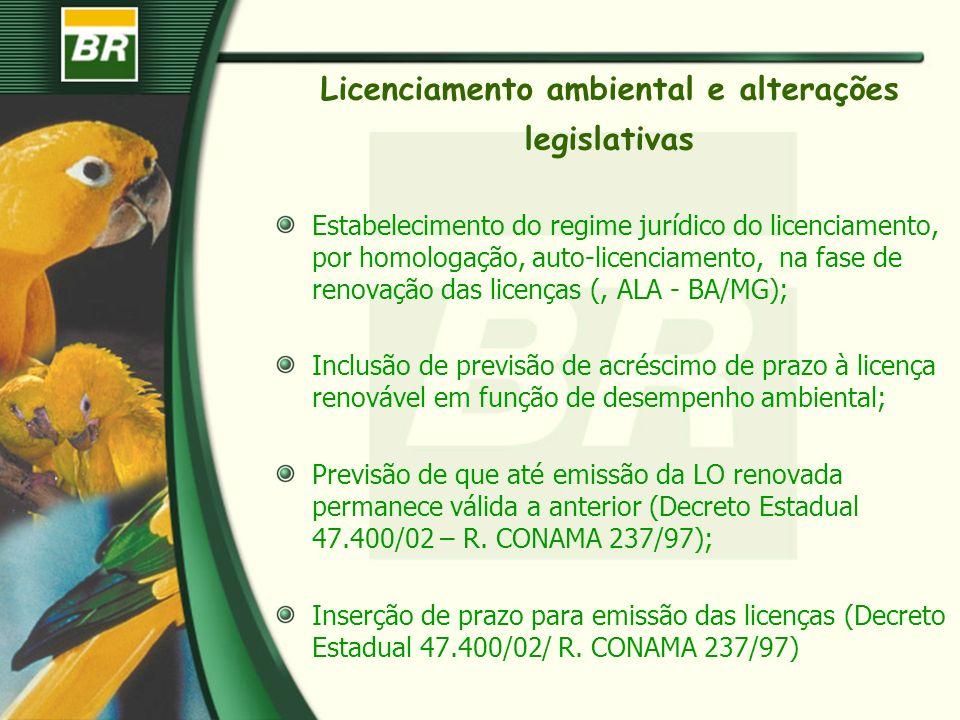 Licenciamento ambiental e alterações legislativas Estabelecimento do regime jurídico do licenciamento, por homologação, auto-licenciamento, na fase de