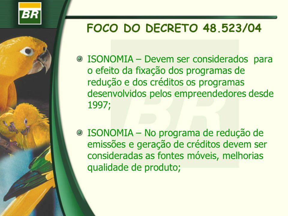 FOCO DO DECRETO 48.523/04 ISONOMIA – Devem ser considerados para o efeito da fixação dos programas de redução e dos créditos os programas desenvolvido