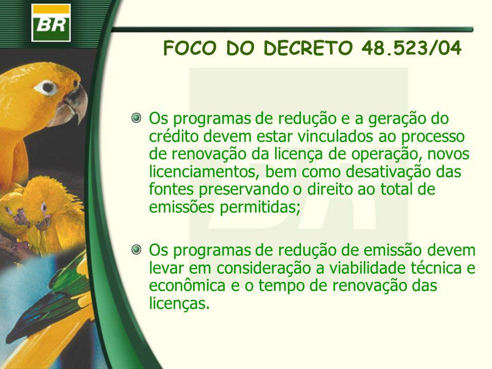 FOCO DO DECRETO 48.523/04 Os programas de redução e a geração do crédito devem estar vinculados ao processo de renovação da licença de operação, novos