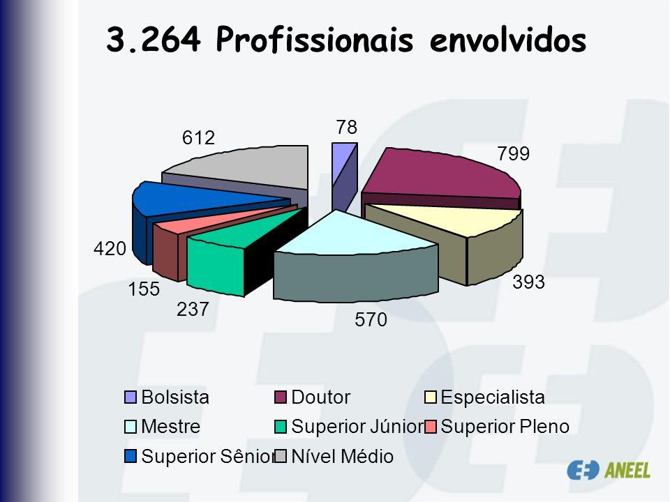 3.264 Profissionais envolvidos 78 799 393 570 237 155 420 612 BolsistaDoutorEspecialista MestreSuperior JúniorSuperior Pleno Superior SêniorNível Médi