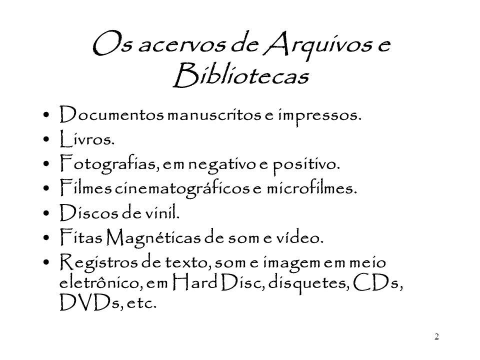2 Os acervos de Arquivos e Bibliotecas Documentos manuscritos e impressos. Livros. Fotografias, em negativo e positivo. Filmes cinematográficos e micr