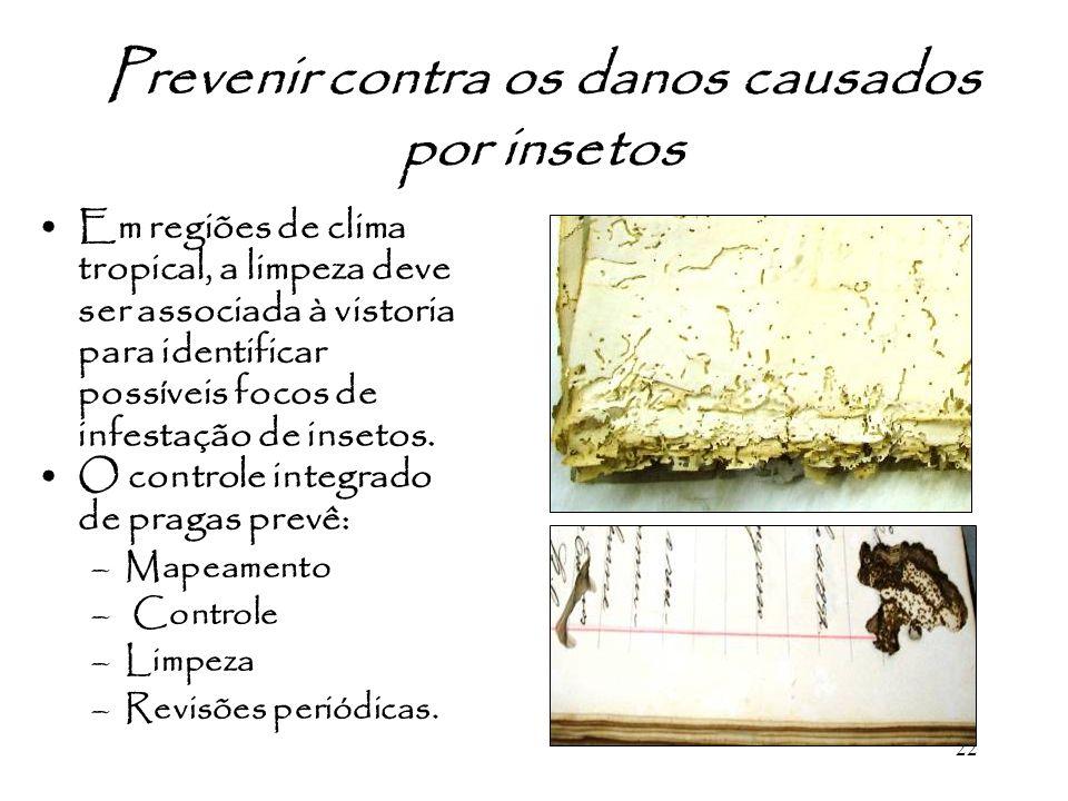 22 Prevenir contra os danos causados por insetos Em regiões de clima tropical, a limpeza deve ser associada à vistoria para identificar possíveis foco