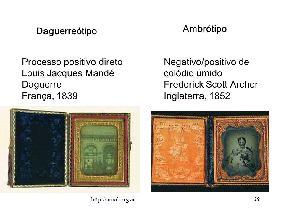 29 Daguerreótipo Processo positivo direto Louis Jacques Mandé Daguerre França, 1839 Ambrótipo Negativo/positivo de colódio úmido Frederick Scott Arche