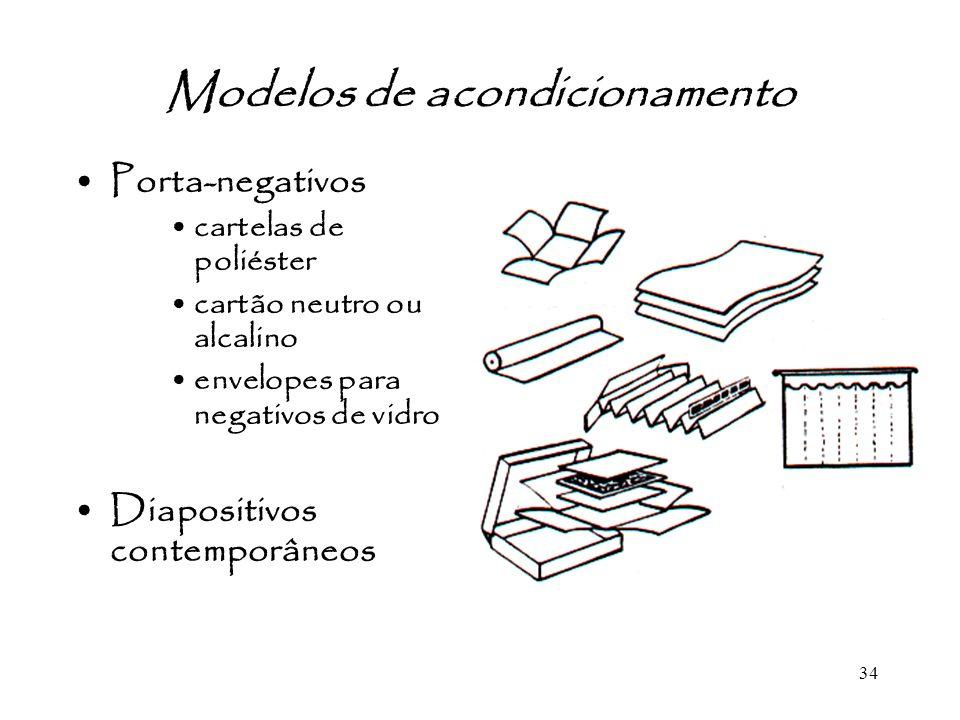 34 Modelos de acondicionamento Porta-negativos cartelas de poliéster cartão neutro ou alcalino envelopes para negativos de vidro Diapositivos contempo