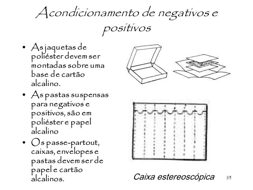 35 Acondicionamento de negativos e positivos As jaquetas de poliéster devem ser montadas sobre uma base de cartão alcalino. As pastas suspensas para n