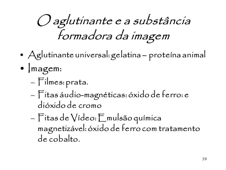 39 O aglutinante e a substância formadora da imagem Aglutinante universal: gelatina – proteína animal Imagem: –Filmes: prata. –Fitas áudio-magnéticas: