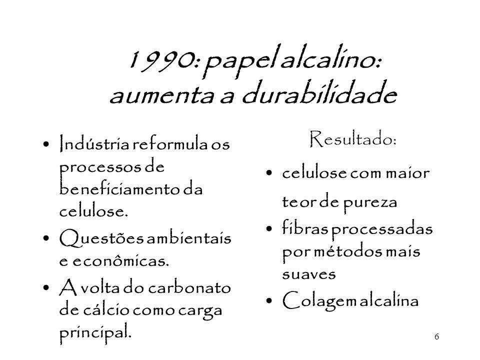 6 1990: papel alcalino: aumenta a durabilidade Indústria reformula os processos de beneficiamento da celulose. Questões ambientais e econômicas. A vol