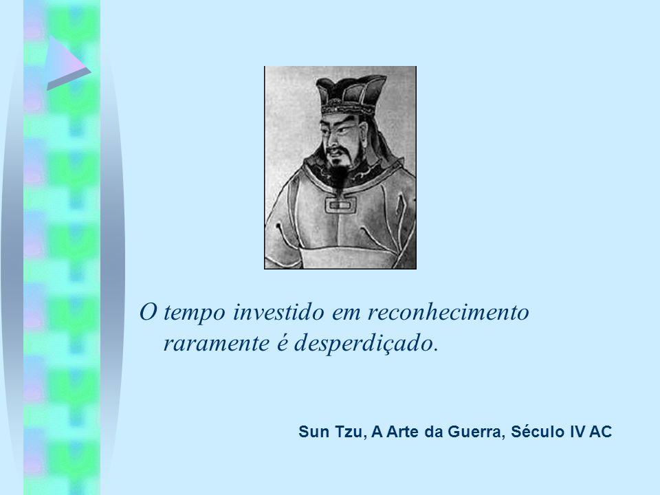 O tempo investido em reconhecimento raramente é desperdiçado. Sun Tzu, A Arte da Guerra, Século IV AC