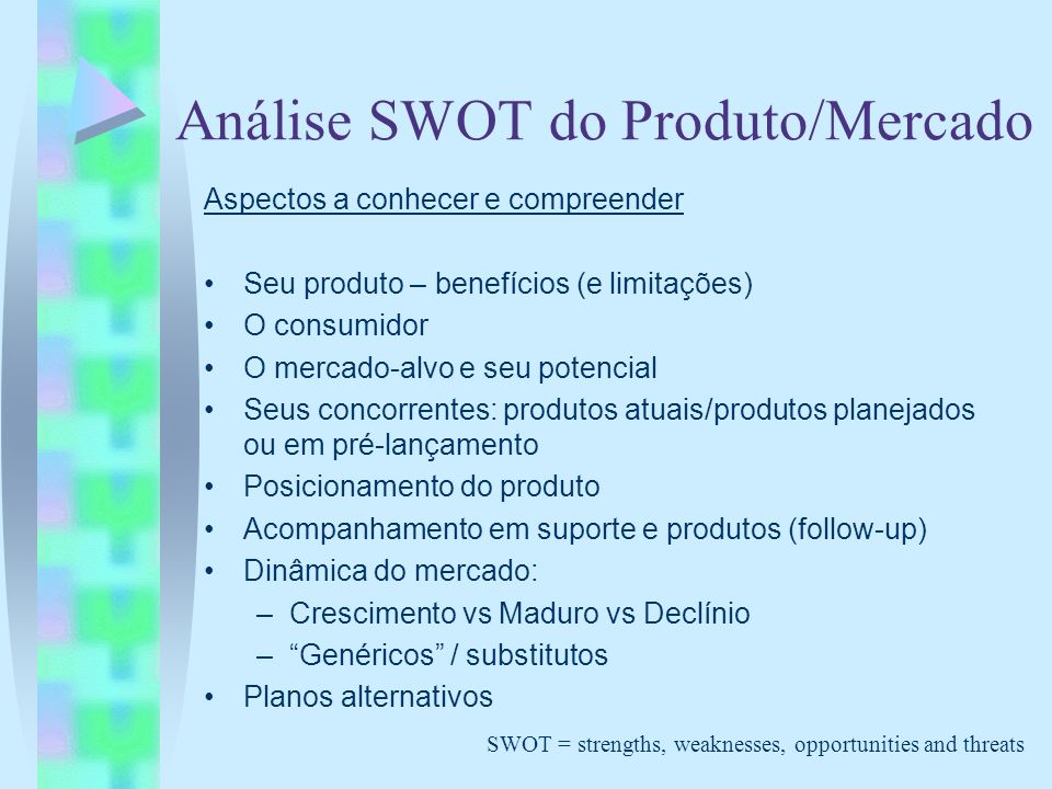 Análise SWOT do Produto/Mercado Aspectos a conhecer e compreender Seu produto – benefícios (e limitações) O consumidor O mercado-alvo e seu potencial