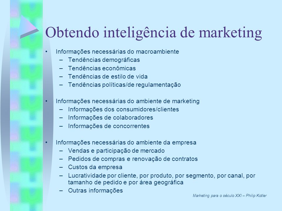 Obtendo inteligência de marketing Informações necessárias do macroambiente –Tendências demográficas –Tendências econômicas –Tendências de estilo de vi