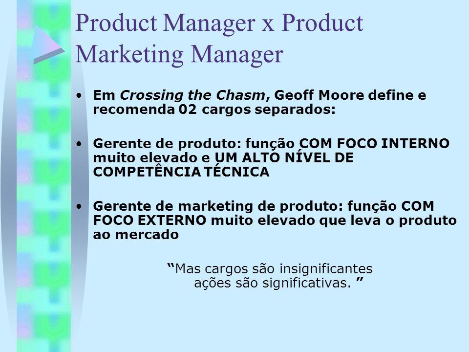 Product Manager x Product Marketing Manager Em Crossing the Chasm, Geoff Moore define e recomenda 02 cargos separados: Gerente de produto: função COM