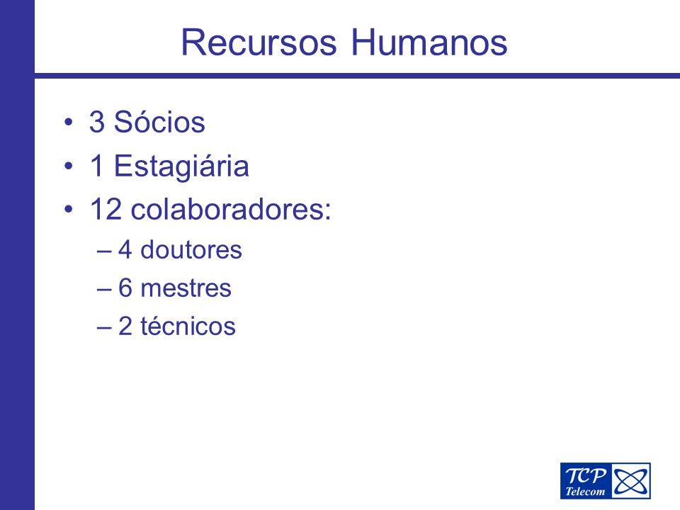 Recursos Humanos 3 Sócios 1 Estagiária 12 colaboradores: –4 doutores –6 mestres –2 técnicos