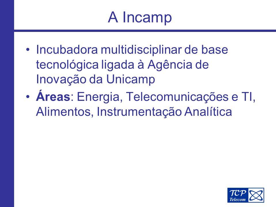 A Incamp Incubadora multidisciplinar de base tecnológica ligada à Agência de Inovação da Unicamp Áreas: Energia, Telecomunicações e TI, Alimentos, Instrumentação Analítica