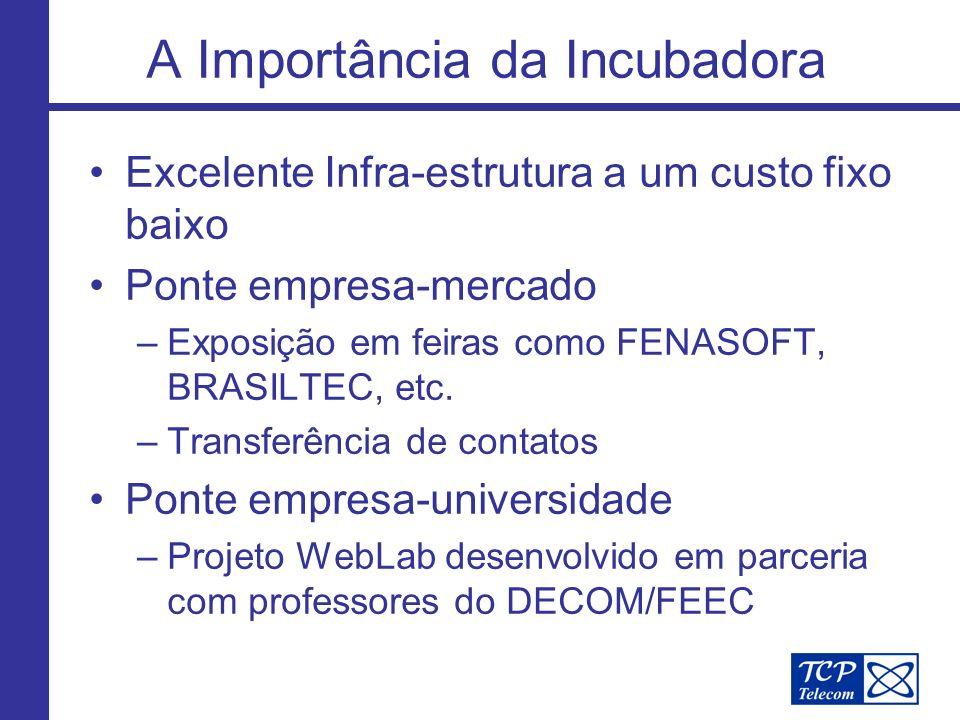A Importância da Incubadora Excelente Infra-estrutura a um custo fixo baixo Ponte empresa-mercado –Exposição em feiras como FENASOFT, BRASILTEC, etc.