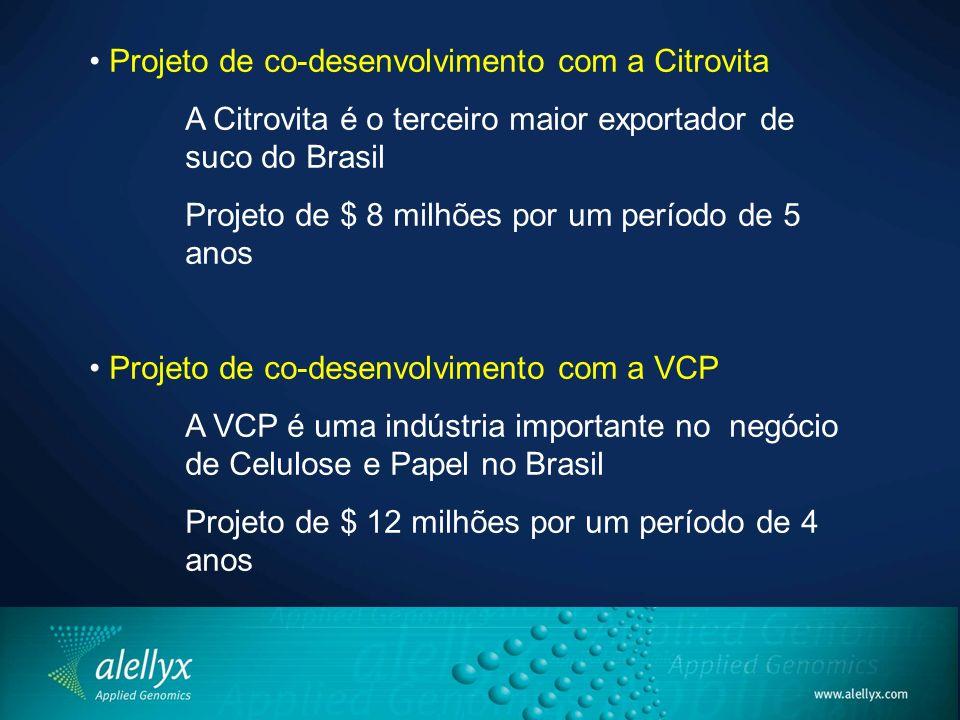 Projeto de co-desenvolvimento com a Citrovita A Citrovita é o terceiro maior exportador de suco do Brasil Projeto de $ 8 milhões por um período de 5 a