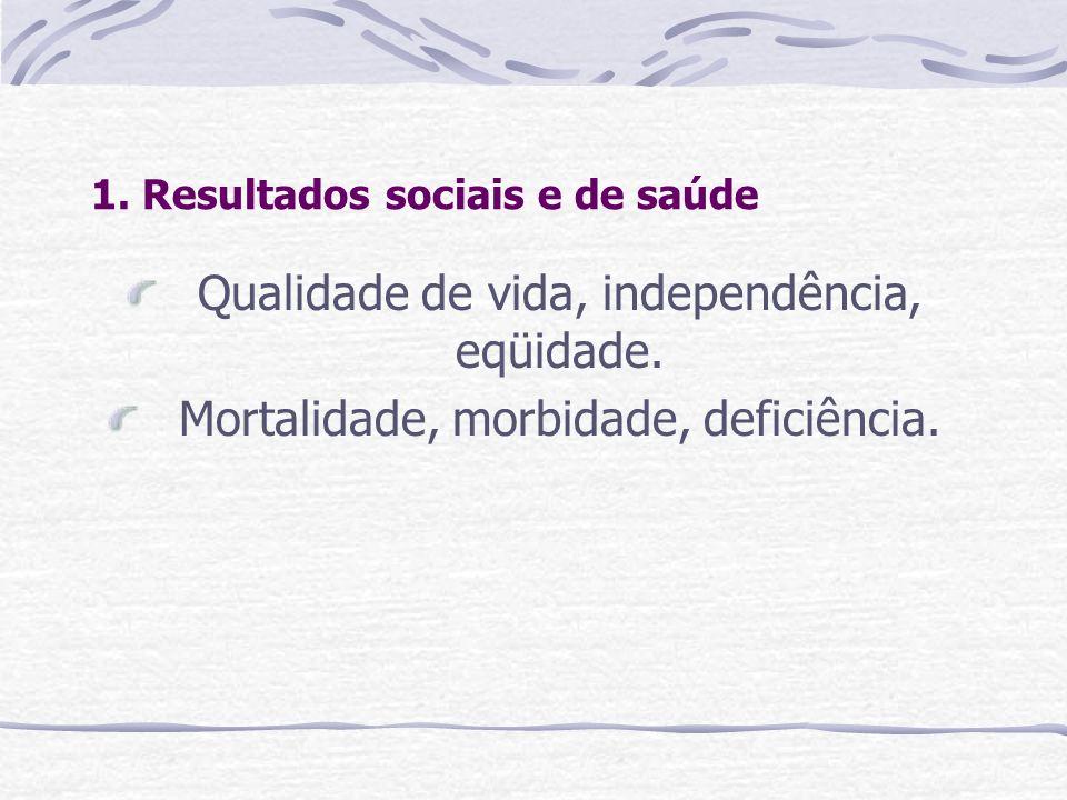1. Resultados sociais e de saúde Qualidade de vida, independência, eqüidade. Mortalidade, morbidade, deficiência.
