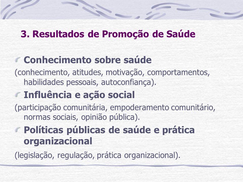 3. Resultados de Promoção de Saúde Conhecimento sobre saúde (conhecimento, atitudes, motivação, comportamentos, habilidades pessoais, autoconfiança).