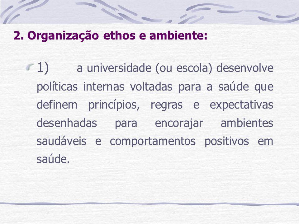 2. Organização ethos e ambiente: 1) a universidade (ou escola) desenvolve políticas internas voltadas para a saúde que definem princípios, regras e ex