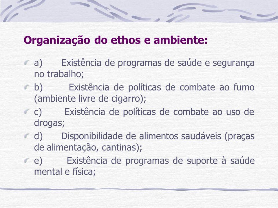 Organização do ethos e ambiente: a) Existência de programas de saúde e segurança no trabalho; b) Existência de políticas de combate ao fumo (ambiente