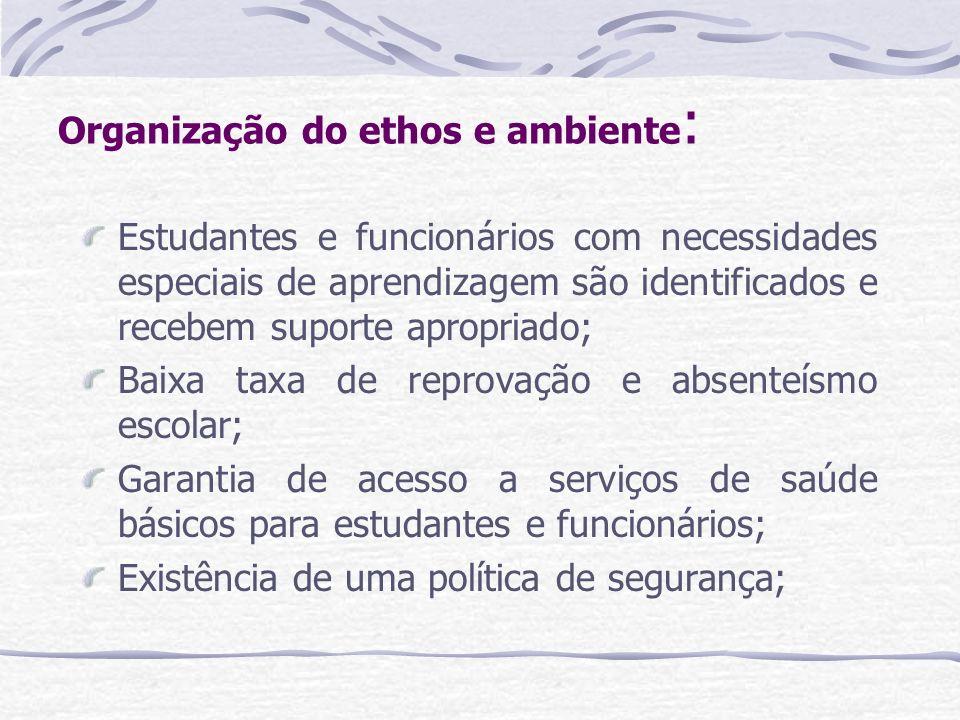 Organização do ethos e ambiente : Estudantes e funcionários com necessidades especiais de aprendizagem são identificados e recebem suporte apropriado;