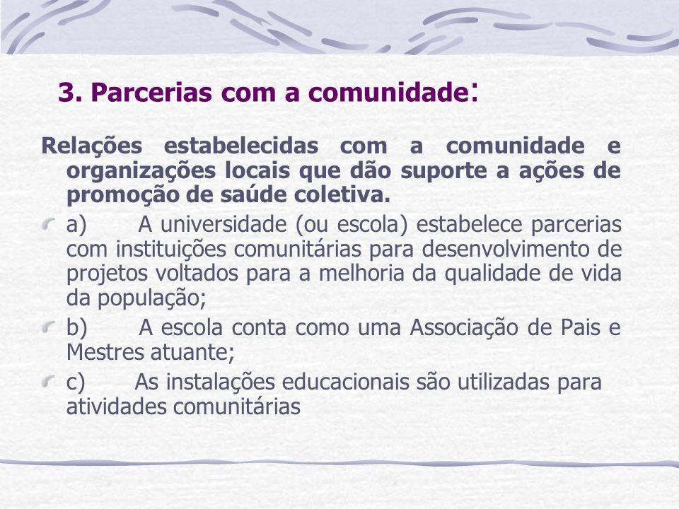 3. Parcerias com a comunidade : Relações estabelecidas com a comunidade e organizações locais que dão suporte a ações de promoção de saúde coletiva. a