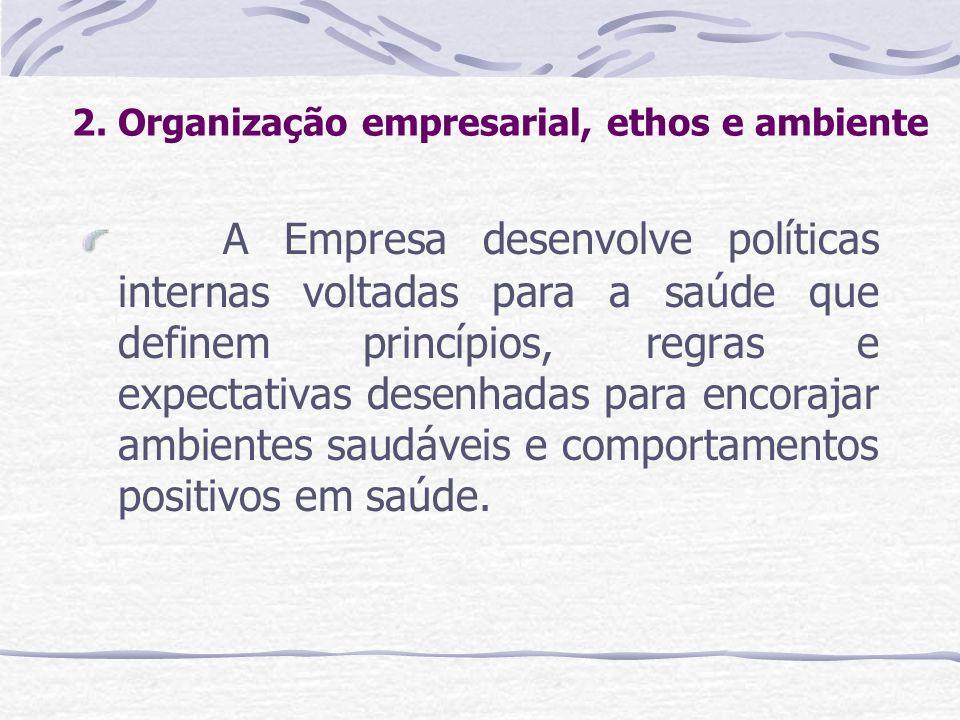 2. Organização empresarial, ethos e ambiente A Empresa desenvolve políticas internas voltadas para a saúde que definem princípios, regras e expectativ