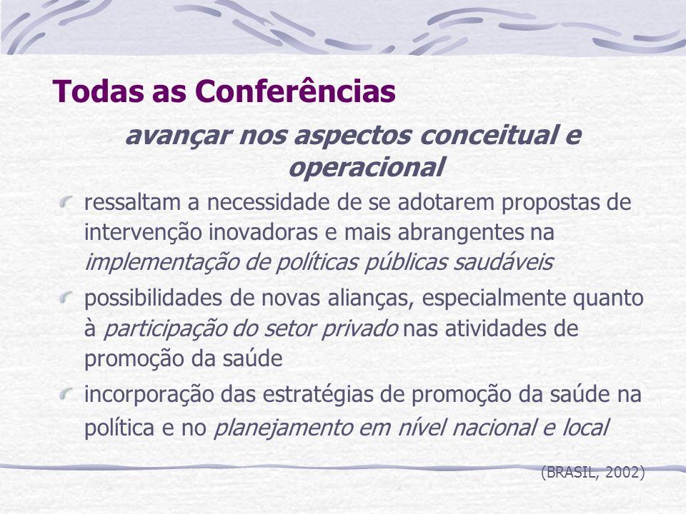 Todas as Conferências avançar nos aspectos conceitual e operacional ressaltam a necessidade de se adotarem propostas de intervenção inovadoras e mais