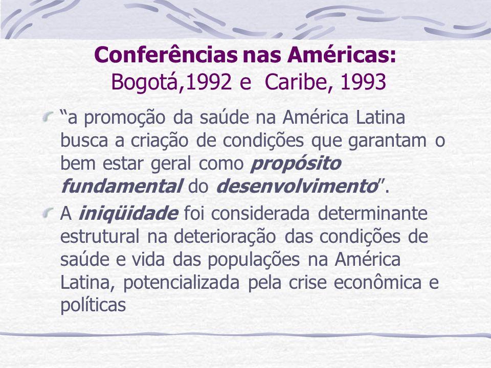 Conferências nas Américas: Bogotá,1992 e Caribe, 1993 a promoção da saúde na América Latina busca a criação de condições que garantam o bem estar gera
