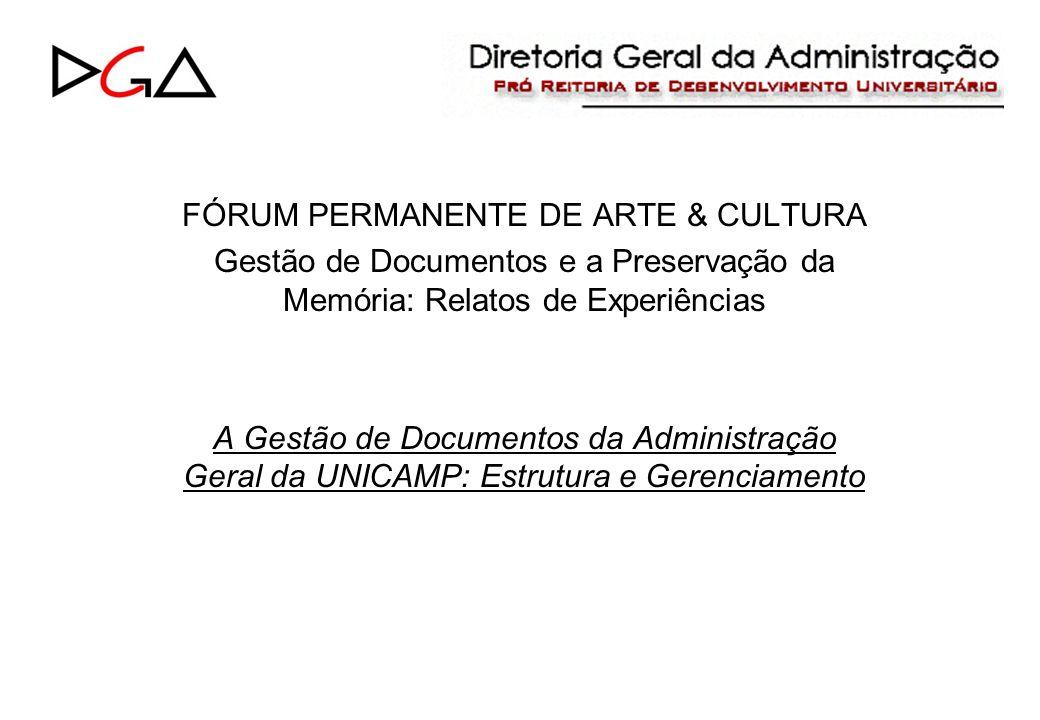 FÓRUM PERMANENTE DE ARTE & CULTURA Gestão de Documentos e a Preservação da Memória: Relatos de Experiências A Gestão de Documentos da Administração Geral da UNICAMP: Estrutura e Gerenciamento