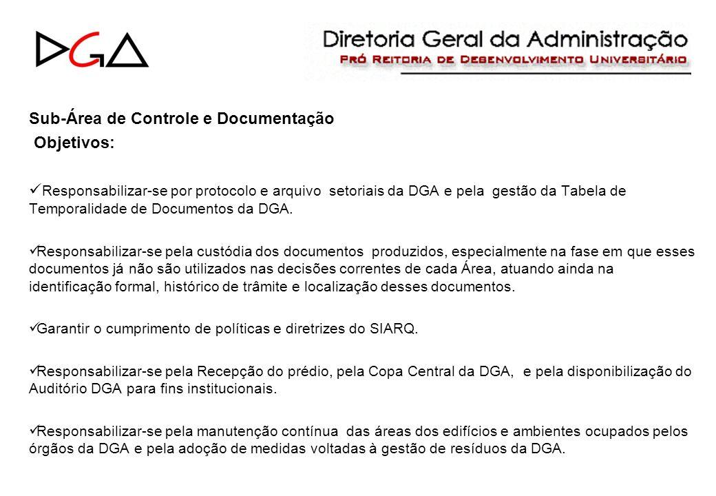 Sub-Área de Controle e Documentação Objetivos: Responsabilizar-se por protocolo e arquivo setoriais da DGA e pela gestão da Tabela de Temporalidade de