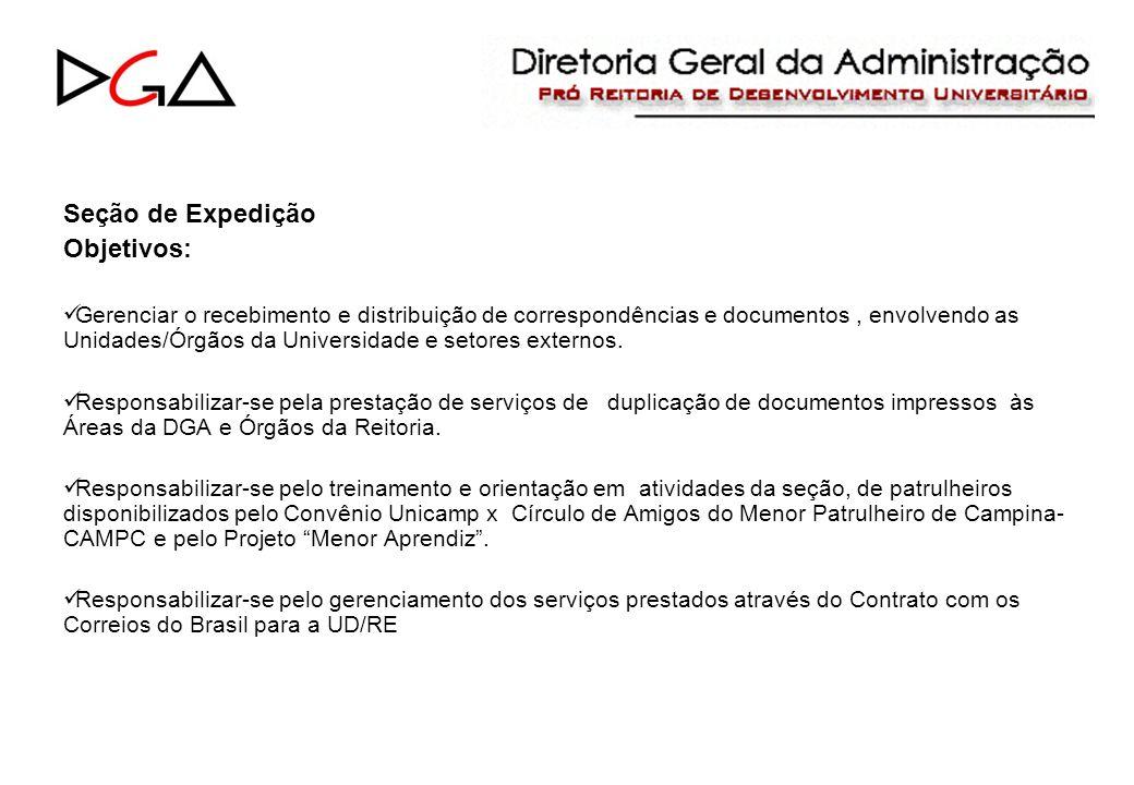 Seção de Expedição Objetivos: Gerenciar o recebimento e distribuição de correspondências e documentos, envolvendo as Unidades/Órgãos da Universidade e setores externos.